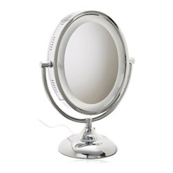 Jerdon HL958C 8-Inch Tabletop Two-Sided Swivel Oval Halo Lighted Vanity Mirror - The Jerdon HL958C 8-Inch Tabletop Two-Sided Swivel Oval Halo Lighted Vanity Mirror is an ideal bathroom and makeup accessory that provides lighting and magnification options to display a clean, bright reflection whenever you need it. The fog free, two-sided oval mirror is 8-inches by 10-inches in size and features a smooth 360-degree swivel design that provides 1x and 8x magnification to make sure every detail of your hair and makeup are in place. The oval halo light design and smooth rotation provide a dynamic point of view. This item can use the JPT25W replacement bulb (sold separately). An on/off rotary knob on the back base will activate the halo lighting around the perimeter of the mirror when you need it. The HL958C stands 13.75-inches high, stands upright on countertops, vanities and tables and has an attractive chrome finish that protects against moisture and condensation. The Jerdon HL958C 8-Inch Tabletop Two-Sided Swivel Oval Halo Lighted Vanity Mirror comes with a 1-year limited warranty that protects against any defects due to faulty material or workmanship. The Jerdon Style company has earned a reputation for excellence in the beauty industry with its broad range of quality cosmetic mirrors (including vanity, lighted and wall mount mirrors), hair dryers and other styling appliances. Since 1977, the Jerdon brand has been a leading provider to the finest homes, hotels, resorts, cruise ships and spas worldwide. The company continues to build its position in the market by both improving its existing line with the latest technology, developing new products and expanding its offerings to meet the growing needs of its customers.