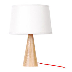 ParrotUncle - White Fabric Shade Wooden Base Modern Table Lamp, Small - This wooden Table Lamp has white color lampshade which will never out of date.