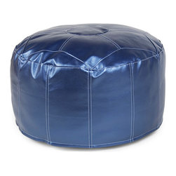 Metallic Blue Pouf - Throw an eclectic touch to your home décor with the addition of this Metallic Blue Pouf. Whether used as an ottoman or as extra seating, the pouf creates a livelier conversation or entertainment area and looks great in its splashy jewel tone. The metallic faux leather cover is removable for easy care of the piece.