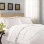 None - Lightweight White Sateen Down Alternative Comforter - This lightweight white down alternative comforter will enhance your decor and sleeping experience. This 260-thread-count comforter is hypoallergenic and will keep you comfortable during warm and cool temperatures. It also has a cushy polyester fill.