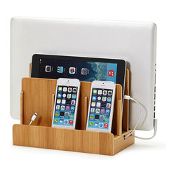 Great Useful Stuff - Bamboo Multi-Charging Station - Hide all your cords and keep your gadgets organized and fully charged in one neat location. Slide your laptop, tablet and phones into one sleek bamboo holder for easy charging and tuck the cords away. You'll free up counter space and save yourself endless frustration over lost cords and dead phones. Every home needs one of these!