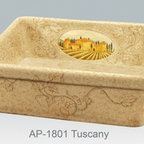 "Tuscan inspired hand painted kitchen fireclay apron sink - Single bowl fireclay kitchen sink with Tuscan inspired design.  Outside dimensions 26"" W x 20"" D x 9"" H, no overflow."