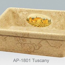 """Tuscan inspired hand painted kitchen fireclay apron sink - Single bowl fireclay kitchen sink with Tuscan inspired design.  Outside dimensions 26"""" W x 20"""" D x 9"""" H, no overflow."""