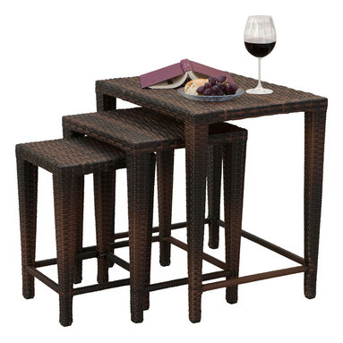 Great Deal Furniture - Mayall Set of 3 Nested Outdoor Tables, Multibrown - Manufactured for outdoor use, this set of three nesting tables looks great placed together as a group or in separate locations. These weather-resistant wicker tables store easily and provide a convenient place to serve snacks and beverages. Use them all together or around the yard for great versatility.