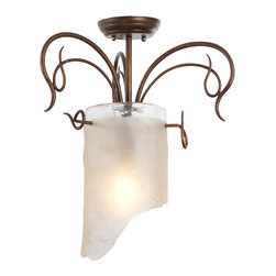 Varaluz - Varaluz 126S01HO Soho Hammered Ore 1 Light Semi Flush Mount - Crafted Hand Forged Steel + 70% Eco-Friendly Recycled Content