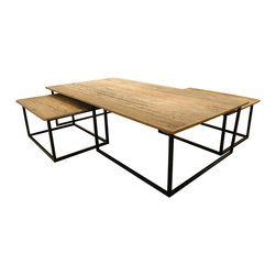 Kathy Kuo Home - Dickens Reclaimed Wood Modern Large Coffee Table Set - Your social life can't be pinned down, so neither should your furniture. This coffee-and-nesting table combo — sleekly styled of reclaimed wood and iron — is a handsome, versatile choice for your favorite space.
