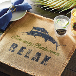 Frontgate - Set of Four Tommy Bahama Ocean Cruise Swordfish Placemats - Made from all-natural burlap. Fringe around all four edges adds a measure of tropical flair. Clean with a damp cloth. Imported. Our Tommy Bahama Ocean Cruise Swordfish Placemats are made from durable, all-natural burlap and imprinted with an intricate, island-inspired design that adds a touch of paradise to any tabletop. . . . .