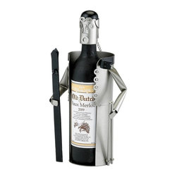 Old Dutch International - Skier Wine Bottle Buddy - Holds 750 ml. bottle. Black paint accents. Made from stainless steel. Gray finish. No assembly required. 12.5 in. L x 3.5 in. W x 6 in. H (3 lbs.)