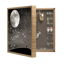 DENY Designs - Shannon Clark Love Under The Stars BlingBox Petite - Handcrafted from 100% sustainable, eco-friendly flat grain Amber Bamboo, DENY Designs BlingBox Petite measures approximately 15 x 15 x 3 and has an exterior matte cover showcasing the artwork of your choice, with a coordinating matte color on the interior. Additionally, the BlingBox Petite includes interior built-in clear, acrylic hooks that hold over 120 pieces of jewelry! Doubling as both art and an organized hanging jewelry box, It's bound to be the most functional (and most talked about) piece of wall art in your home! Custom made in the USA for every order.