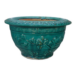 "Golden Lotus - Chinese Green Glaze Flower Pattern Ceramic Round Planter - Dimensions:  Dia 16"" - center Dia 11.5"" x h9"""