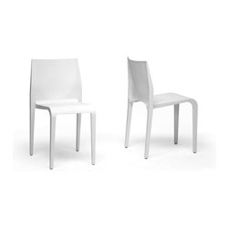 Wholesale Interiors - Blanche White Molded Plastic Modern Dining Chairs, Set of 2 - Because there is much truth to the saying less is more, the beautiful, minimalist Blanche Dining Chair is an ideal choice for those looking to adopt a clean, contemporary look for their home. Made from a single mold, this modern stackable dining chair is constructed entirely of hard, durable plastic. Because it is stackable, this design works wonderfully in smaller spaces such as apartments and studios as well as frequently-cleaned and rearranged settings including as a modern restaurant chair. The Blanche Chair is made in China. To clean, wipe with a damp cloth. Fully assembled. Seat dimensions: 18.75 inches high x 14 inches wide x 16 inches deep, Chair Dimensions: 31 inches high x 17.25 inches wide x 19.31 inches deep.