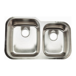 Clark - Clark Stainless 60/40 Double Bowl - With elegant corner radiuses and a lustrous satin finish, the Classic 60/40 Double Bowl from Clark gives a timeless design element that complements any kitchen decor. You will love the durability and low maintenance of premium 18 gauge stainless steel. This sink comes with industrial grade sound deadening pads and DripGuard, so that noise is greatly reduced and condensation will not damage your cabinets.