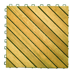 Vifah - Vifah Premium Plantation Teak Interlocking Deck Tile - 12 Slats - Vifah - Tile - V368 - The 12 slat design is our best selling product since introduced to the market in 2007. In this design, there are 12 wood slat diagonally pre-screwed into the interlocking plastic base. This design provides a uniquely elegant look for any outdoor decking projects, from small to large.