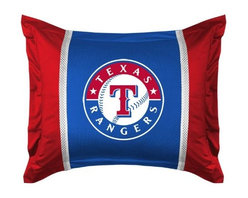 Sports Coverage - MLB Texas Rangers Sidelines Pillow Sham - Make that new officially licensed MLB Texas Rangers Sidelines Pillow Sham look as good as it feels. A must have for any true fan. A New Design - Same great quality!! Show your team spirit with this officially licensed MLB Sham. Shams are 31 x 25 including flanged edges. 3 overlapping envelope closure is on back. 100% Polyester Jersey. Logo is screenprinted. Machine washable.
