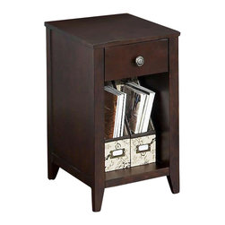 Kathy Ireland Office by Bush Furniture - Kathy Ireland by Bush Grand Expressions End Table in Warm Molasses - Kathy Ireland Office by Bush Furniture - End Tables - KI2010703 - Expand your set of Kathy Ireland Office by Bush Furniture Grand Expressions furniture with this end table. Finished in warm molasses with antiqued pewter hardware it's equally at home in your den or family room as your home office. Storage spaces include a closed drawer and open area underneath that is perfect for matching Kathy Ireland Office by Bush Furniture storage bins. All pieces are crafted with painted wood finish and a protective top coat. The rounded edges and soft corners help protect your family while the Quick-to-Assemble technology makes it a snap to put together.