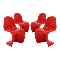 """LexMod - Slither Dining Side Chair Set of 4 in Red - Slither Dining Side Chair Set of 4 in Red - Sleek and sturdy, rock back and forth in comfort with this injection molded marvel. Constructed from a single piece of strong ABS plastic, the s shaped Slither chair can be found in many fashionable settings. Perfect for dining areas in need of a little zest, the design is versatile, fun and lively. Surprisingly cushy, choose from a selection of vibrant colors that wont fade over time. Slither is also perfect for spaces short on room. Set Includes: Four - Slither Dining Chair Tough ABS Construction, Stackable up to 4 High, Ergonomically Designed, Set of Four Chairs, No Assembly Required Overall Product Dimensions: 23""""L x 19""""W x 33""""H Seat Height: 18""""H - Mid Century Modern Furniture."""