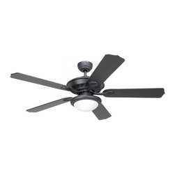 Yosemite Home Decor - 52 Inch Ceiling Fan in Venetian Bronze Finish with Black Ash Blades - Features: