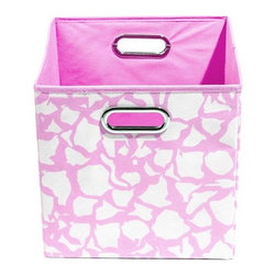 Modern Littles - Rose Giraffe Folding Storage Bin - This colorful storage bin is perfect for any little girl's room. The playful motif draws the eye and she'll love organizing and storing her toys in it. Fits easily under a bed or crib.
