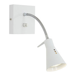 Pacific Coast - White Gooseneck Arm Plug-In Halogen Wall Light - Minimalist style and major convenience meld in this white finish gooseneck wall lamp. A clean and modern halogen plug-in wall lamp that is convenient and easy to use. The white finish blends beautifully into today's modern decor while the full-range dimmer ensures the lighting is always just right. Gooseneck with wide paddle handle on the shade makes it easy to direct light.
