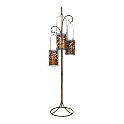 Benzara - Artistically Designed Metal Floor Candle Lantern - Delight the spaces with dancing lights. 41970 Metal Floor Candle Lantern is an excellent anytime low priced decor upgrade option with great utility for everyone.