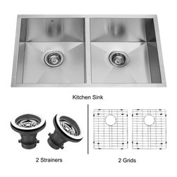 Vigo - Vigo 32-inch Undermount Stainless Steel Kitchen Sink, Two Grids and Two Straine - The Vigo undermount kitchen sink, matching grids and strainers complement any decor and is highly functional. Every design detail is featured in this sink to meet your needs.