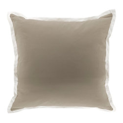 Oilo - Euro Sham, Taupe - This classic sham features a 1-inch contrasting border that is perfect for your bed or couch. The 100 percent cotton cover is machine washable for added convenience. You can't go wrong with this simple yet sophisticated design.