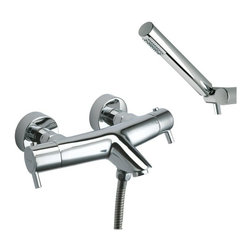 Ramon Soler - Wall Mounted Thermostatic Tub and Shower Mixer with Hand Shower Set - Just the double handle (small lever handle style), 2 hole tub filler for a more contemporary & modern bath - begin with this tub filler.