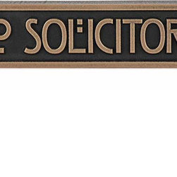 "Atlas Signs and Plaques - Mini Stickley No Solicitors Plaque, Bronze Patina, 8"" X 2"" X 1"" Thick, Raised - From our popular Stickley Collection of Arts and Crafts Plaques. The Stickley No Solicitor sign in the ""Mini"" version uses the Rennie Mackintosh Font and coordinates with the rest of your Stickley house plaques. Mark your territory with style."