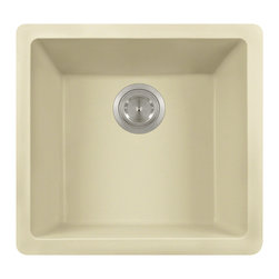 """MR Direct - Single Bowl TruGranite Sink - The TruGranite 805-Beige single bowl sink is made from a granite composite material that is comprised of 80% Quartzite and 20% Acrylic. Silver ions are added to the sink during the manufacturing process that kill 99% of bacteria on contact.  Aside from being anti-bacterial, the 805-Beige is stain and scratch resistant and can resist heat up to 550 degrees. The overall dimensions of the sink are  and an 18"""" minimum cabinet size is required. The sink contains a 3 1/2"""" offset drain and is available in multiple colors. As always, our TruGranite sinks are covered under a limited lifetime warranty for as long as you own the sink."""