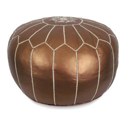 Ikram Design - Matte Bronze Moroccan Pouf - Cheerful and functional, our Moroccan poufs blend perfectly in any decor whether it is ultra modern or classic, Each piece is well crafted to provide the modern look and the reliable service for many years, you will absolutely find the pouf suitable for your own space.These gorgeous pieces will brighten your place and become your work of art, They come pre-stuffed with filling fiber.