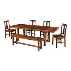 "Walker Edison - Walker Edison 6-Piece Huntsman Wood Dining Set - Dark Oak X-OD2H06C - This charming dining set is the perfect addition to any dining room or kitchen. The set is designed to comfortably seat six, but with two innovative end leaves it will easily accommodate larger gatherings or a growing family. The rich dark oak finish and distressed detailing create a warm, rustic feel. Features a charming 3-seater bench and four dining chairs that provide comfort and stability. Constructed with a rich wood veneer over high-grade MDF.Features:&#8226: Charming, country design&#8226: Wood veneer over high-grade MDF table top&#8226: Solid wood chairs, table and bench legs&#8226: Rich dark oak finish&#8226: Purposeful distressing creates a warm, rustic feel&#8226: Two innovative, removable end leaves accommodate&#8226: Comfortable, 3-seater  bench&#8226: Sturdy, sound construction&#8226: Set includes table, four chairs and bench&#8226: Ships ready-to-assemble with necessary hardware and tools&#8226: Assembly instructions included with toll-free number and online supportTable Dimensions: 68-96"" W x 38"" D x 30"" HSingle Chair Dimensions: 21"" W x 18"" D x 39"" HBench Dimensions: 60"" W x 14"" D x 18"" H"