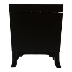 "SEI - Hayden End Table Trunk - Black - Don't fret over tidying away messes and never having enough space anymore. Focus on an efficient home by adding storage options in unexpected placed, such as this handsome end table trunk. This black end table trunk features ample storage and sleek, contemporary style. In addition to the smooth lines of the trunk, the design features simple pedestal feet and door knocker handles. The silver finish and clean curves of the handles contrast wonderfully against the black surface of the trunk. Add this attractive end table trunk to living rooms or family rooms with transitional to modern decor. Perhaps you'd prefer to ""think outside the trunk"" and use it as night stands in the bedroom or in a craft room for extra storage."