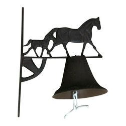 """AJchibp2975-19 - Cast Iron Horse with Calf and Bell Wall Hanger - Cast iron horse with calf and bell wall hanger. Measures 13"""" x 10"""". Assembly required."""