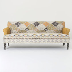 Andreas Sofa - I adore the use of color and pattern on this couch — it makes me weak in my design knees. The colors are crisp, and you don't have to use extra pillows to spruce it up.