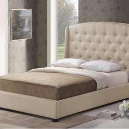 Baxton Studio - Ipswich Light Beige Linen Modern Platform Bed - The light beige linen-like upholstery on our Ipswich Modern Upholstered Headboard covers foam padding and an underlying hardwood and MDF frame.  This is a platform bed,wooden slats (included) provide comparable support.