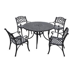 Crosley Furniture - Crosley Furniture Sedona 48 Inch 5 Piece Aluminum Outdoor Dining Set w/ Arm Chai - It may be hot outside, but you'll feel cool kicking back in our heavy duty, solid-cast aluminum furniture. Designed for style and built to last, this outdoor seating set features a durable charcoal black powder coated finish that will weather the harshest of outdoor conditions. Experience pure nirvana while unwinding in the chair's comfortable contoured seats. Your very own outdoor oasis awaits you!