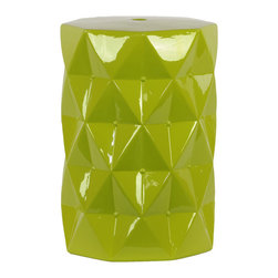 Urban Trends Collection - Green Ceramic Stool - This green ceramic stool from Urban Trends Collection brings a contemporary flair to your patio. The stool can be used to spruce up your decor,or as a small table for storing food and drinks.