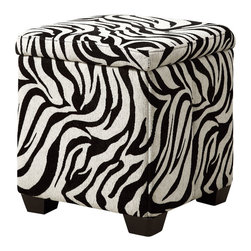 Monarch Specialties - Monarch Specialties I 8971 Zebra Fabric Storage Ottoman - Covered in a fun zebra pattern, this square piece features tapered legs and a plush top cushion to sit or rest your feet. The hidden storage space underneath the seat is ideal for stowing away desired objects. Liven up your living area or bedroom with this cool contemporary storage ottoman that will be a stylish and practical addition to your home. Ottoman (1)