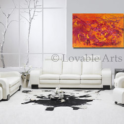 """Atumn- Colorful abstract painting ready to hang on your wall with combination of - Original Authentic Large Contemporary fine art by Preethi Mathialagan. 100% hand painted on canvas and personally signed by the artist.-ORIGINAL Painting 36"""" x 24"""" Modern Contemporary orange abstract Painting Palette Knife textured fine art by Preethi Mathialagan-Autumn Leaves"""