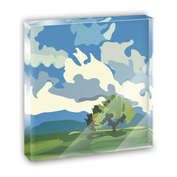 "Made on Terra - Landscape Oak Tree Fluffy Clouds Mini Desk Plaque and Paperweight - You glance over at your miniature acrylic plaque and your spirits are instantly lifted. It's just too cute! From it's petite size to the unique design, it's the perfect punctuation for your shelf or desk, depending on where you want to place it at that moment. At this moment, it's standing up on its own, but you know it also looks great flat on a desk as a paper weight. Choose from Made on Terra's many wonderful acrylic decorations. Measures approximately 4"" width x 4"" in length x 1/2"" in depth. Made of acrylic. Artwork is printed on the back for a cool effect. Self-standing."