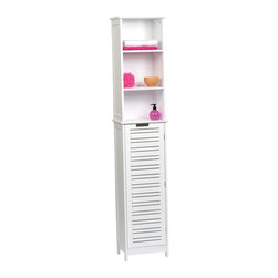 Bathroom Linen Tower Cabinet 1 Door + 2 Shelves MDF Miami White - This bathroom linen tower cabinet Miami is in medium-density fiberboard (MDF). This bath furniture features a tall painted white-finish door with two shelves inside to help banish clutter from your bathroom. The two fixed open shelves are ideal for towels, toiletries and knick-knacks. It's an easy and elegant way to fit more necessities into your bathroom and maximize your bathroom's space. This elegantly-designed linen cabinet is easy to assemble with the included hardware and can even be secured to a wall if desired. Assembly instructions are supplied. Length 13.8-Inch, depth 10.3-Inch and height 68-Inch. Color white. This linen cabinet provides an elegant addition to any bathroom with a clean modern look. Complete your Miami decoration with other products of the same collection. Imported.