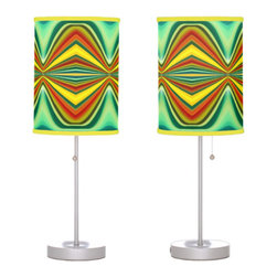 Fury Pattern 8 Green Table Lamp - Create a statement piece that will add instant style to your home décor with Abstract Art Lamps created form original artwork by Amy Vangsgard. Choose your trim and base for a special, one-of-a kind home accent. Choose from film polyester, rice paper, or linen lamp shades that are printed in vibrant color with fade resistant ink.