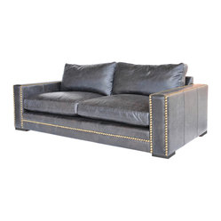 "Four Hands - Patrizia 87"" Sofa - Stately but not stuffy, this handsome sofa is crafted in homage to the libraries of turn-of-the-century American aristocracy. A classic design, its top-grain leather is dyed to a softened black and trimmed with bold contrasting studs."