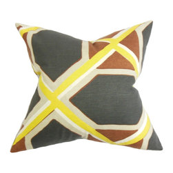 The Pillow Collection - Otthild Geometric Pillow Black Yellow - Distinctive and sleek, our throw pillow is the perfect decor piece to add in your homes. This accent pillow adds a contemporary vibe with its multicolored geometric pattern in shades of yellow, black, orange and white. Toss this statement piece in your sofa, bed or seat for extra comfort and dimension. Made of 100% plush cotton fabric. Hidden zipper closure for easy cover removal.  Knife edge finish on all four sides.  Reversible pillow with the same fabric on the back side.  Spot cleaning suggested.