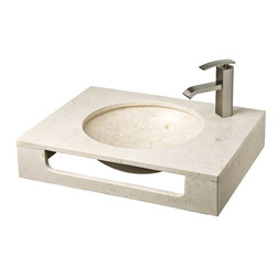 """CBI - ConceptBaths 23.5"""" Galala Natural Stone Wall Mount Vanity Combo Sink LM-T086GL - An extremely simple yet handsome vanity set made of natural galala stone."""