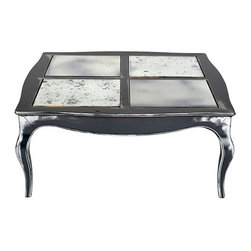 n/a - Consigned Coffee Table w/ Mirror Inserts Provinsial - Large Provençal-style coffee table with four antiqued mirror glass inserts on the top. Scalloped top supported by four Louis XV-style cabriole shaped slipper foot. Painted in medium to dark gray colors with off white accents.