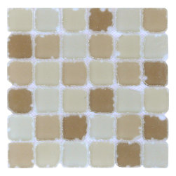Brown Tumbled Glass Mosaic Tile - Shades of tumbled rustic matte Brown glass mosaic
