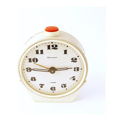Vintage Alarm Clock, Jantar from Soviet Union Era by Clockwork Universe - This beautiful, vintage Russian clock has a fabulous red button on top! I love the combination of cream, metal and red.