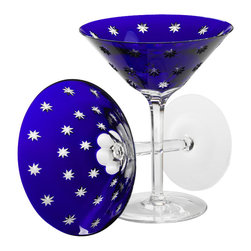 IMPERIAL COURT, INC. - Galaxie Martini Glasses Blue Crystal, Set Of 2 - Mouth-blown and hand-cut cased cobalt crystal.  Set of two, in burgundy velvet covered wooden gift box.