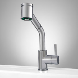 Gleason Single-Hole Pull-Down Kitchen Faucet - The Gleason Single-Hole Faucet offers modern appeal and function. A pull-down sprayer and swivel spout on this striking faucet make it extra helpful.